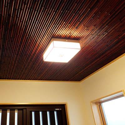 注文住宅施工事例 玄関(竹の天井)
